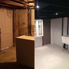 Dingey to Done! Ceiling fix? Paint everything black and install recessed lighting between joists. Parge and paint walls and floor. Installing Recessed Lighting, Paint Walls, Staging, Ceiling, Flooring, Top, House, Black, Spinning Top