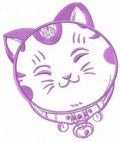 Cute Maneki Neko 4 machine embroidery design. Machine embroidery design. www.embroideres.com