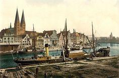 Postkarte, Hafen Lübeck, um 1900
