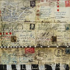 mixed media postcards- I like this idea using letters and postcards from my family and friends Mixed Media Collage, Collage Art, Collage Ideas, Collages, Art Journal Pages, Art Journaling, Journal Covers, Junk Journal, Art Doodle