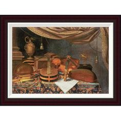 """Global Gallery A Guitar, a Cello, Lutes by Evaristo Baschenis Framed Painting Print Size: 19.2"""" H x 26"""" W"""
