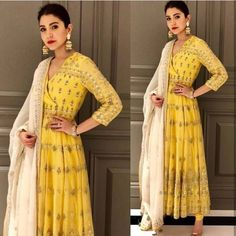 Spotted: makes for a radiant newly wed in a classic yellow anarkali ✨ this outfit at Carma by sending us a screenshot at Anarkali Dress, Pakistani Dresses, Indian Dresses, Lehenga, Bridal Anarkali Suits, Indian Anarkali, Sarees, Indian Look, Indian Ethnic Wear