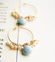 Blue Opal Earrings Hoop Earrings Gemstone Jewelry by laurastark