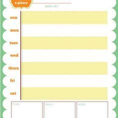 printable week at a glance calendar
