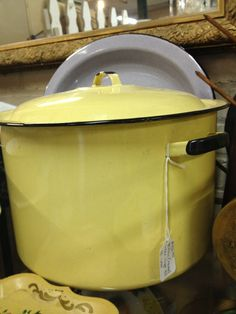 Vintage yellow enamel stock pot. Hope you'll visit my blog http://cdiannezweig.blogspot.com/ and my site  http://iantiqueonline.ning.com/