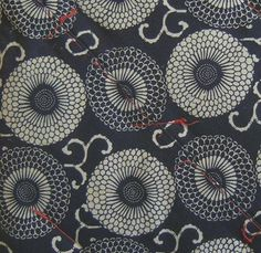 Japanese floral pattern - red thread
