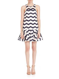 MILLY Jillian Chevron Jacquard Dress - Navy - White - Size