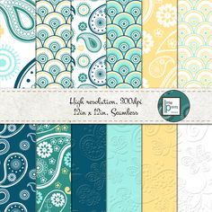 Digital Paper - Teal Paisley, Digital scrapbook paper, digital background, seamless digital paper, p Paper Art, Paper Crafts, Digital Backgrounds, Digital Scrapbook Paper, Paper Background, Birthday Party Invitations, Paper Goods, Color Patterns, Gift Tags