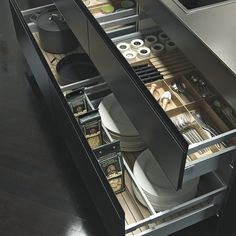Check out the Luxury kitchens collections by German Kitchen furniture Manufacturer - SieMatic >> Hidden kitchen design by Minosa Design >. Kitchen Room Design, Luxury Kitchen Design, Kitchen Cabinet Design, Kitchen Cabinetry, Luxury Kitchens, Home Decor Kitchen, Interior Design Kitchen, Diy Kitchen, Kitchen Storage