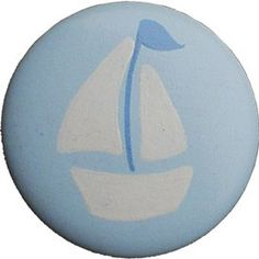 Icy Blue Sailboat Furniture Knob 2.5. Crafted Of: Wood. Includes Screws For Installation.  #Unknown #Baby_Product