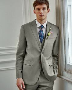 SAGE ADVICE: Cool silvery shades are not to be underestimated Wool Suit, Tie The Knots, Bridal Boutique, Well Dressed, Elegant Wedding, Ted Baker, Long Sleeve Shirts, Suit Jacket, Menswear