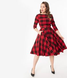 Unique Vintage 1950s Black & Red Plaid Devon Swing Dress Pin Up Outfits, 1950s Outfits, Pin Up Dresses, Indie Outfits, Retro Outfits, Unique Dresses, Dresses With Sleeves, Vintage Inspired Outfits, Vintage Style Outfits