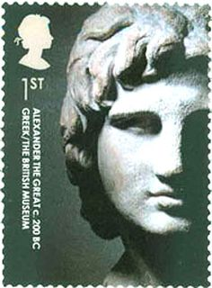 Alexander the Great on Stamps 2003 British First Class stamp. Head of Alexander the Great from c. 200 BC statue in British Museum. This marble portrait head of Alexander was acquired by the British Museum in 1872 and is believed to have originated c. 200 BC in Alexandria, Egypt, the city founded by Alexander in 331 BC and the location of his tomb.