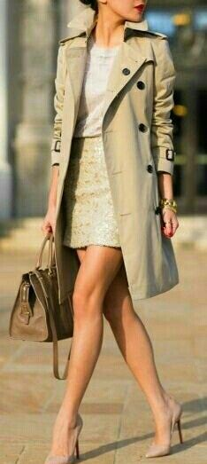 """justthedesign: """" This classic Burberry trech looks ultra chic worn with nude pink heels and a matching nude top and skirt. By keeping this look neutral, Wendy Nguyen has achieved a gorgeously minimalistic style which we love. Trench Coat Outfit, Coat Dress, Mode Outfits, Fashion Outfits, Womens Fashion, Trent Coat, Nude Tops, 2015 Fashion Trends, Fashion Bloggers"""