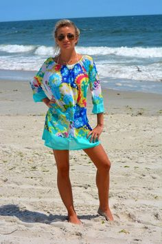 Salmon Recipes Discover Beach cover up honeymoon cover up kimono sleeve tunic Classic Outfits For Women, Autumn Fashion Women Fall Outfits, Beach Vacation Outfits, Summer Outfits, Casual Outfits, Long Sleeve Maternity Dress, Resort Wear For Women, Beachwear For Women, Beach Covers