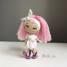 Amigurumi doll with pink hair by Куклы KotiKo_toys @kotiko_toys.