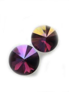Purple Gold Swarovski Crystal Earrings 12mm by BreatheCouture, $28.00