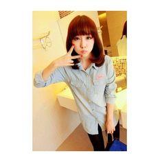 Women Long Sleeve Lapel Leisure Blue Jean Shirt S/M/L @FZ70122bl ($17) via Polyvore