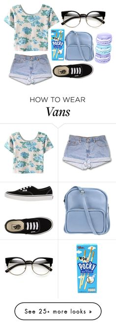 """""""A beauty so blue she doesn't know what to do.."""" by wonders-of-the-world on Polyvore featuring WithChic, Jil Sander Navy and Vans"""