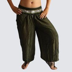 Dark Green Oriental Decorated Harem Pants - Yoga Pants - Model P85 - Oriental Fashion #http://www.pinterest.com/OGfashion/