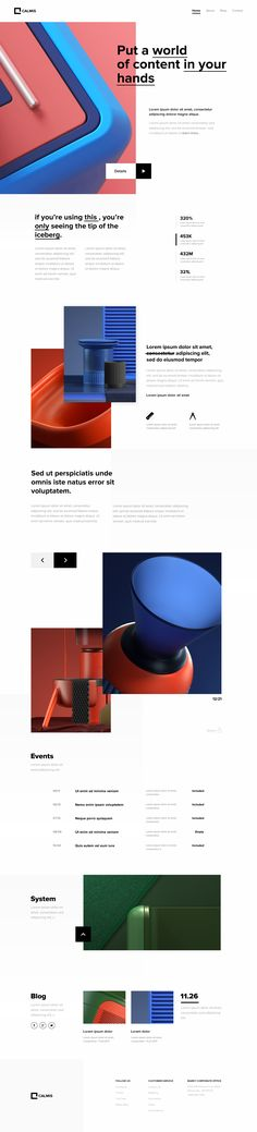 Calmis Homepage – home theater design layout Pop Design, Web Ui Design, Web Layout, Layout Design, Photoshop Web Design, Web Mobile, Creative Web Design, Ui Design Inspiration, Ui Web