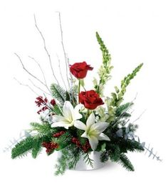 Winter Frost TFWEB98 Just as fresh-fallen snow glistens in the sunlight, so does this silvery arrangement– bearing its load of glittery branches, shiny red berries and a holiday mix of red roses and white lilies. Our glittering floral arrangement is a joyous gift for a friend, or a fun centerpiece for a holiday gathering. https://www.4165flower.com/index.asp?pid=4=viewproduct=9880=1