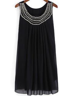 Black Vest Sleeveless Bead Crystals Panelled Rhinestone Chiffon Tank Dress