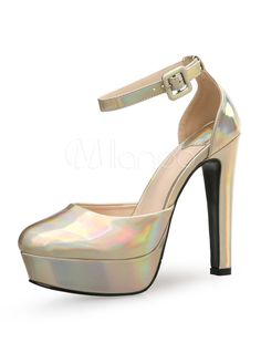 Silver High Heels Round Toe PU Ankle Strap Pump Shoes For Women - Milanoo.com