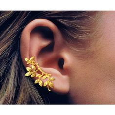 Textured Leaves Pattern in in 18K Gold Over Sterling Silver Ear Cuff