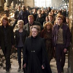The Battle of Hogwarts. Can we just take a moment and admire Fleur's beauty? Forreals.