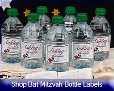 Shop Personalized Bat Mitzvah wine Labels, water bottle labels, beer labels, gift bag labels and champagne labels from www.customfavors.com