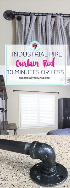 Easy DIY Curtain Rods – Chaotically Creative Need really large curtain rods? Try these Easy DIY Curtain Rods made from gas pipes and fittings. Gas Pipes are so easy to use and affordable. Farmhouse Curtain Rods, Farmhouse Curtains, Rustic Curtain Rods, Outdoor Curtain Rods, Outdoor Drapes, Large Curtains, No Sew Curtains, Blackout Curtains, Hang Curtains From Ceiling