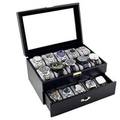 @Overstock - Caddy Bay Collection Black Leatherette 20-watch Storage Case - Display, organize, store and protect your favorite timepieces with this stylish black watch storage case. The durable glass