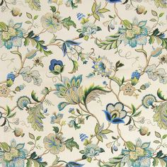 Brissac Sapphire by P. Kaufmann is a lovely jacobean floral drapery décor fabric. Perfect for projects like valances, draperies, tote bags, and more, this classy fabric is made to last and will always be in style.
