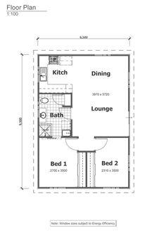 2 bedrooms #GrannyFlat #FloorPlan - The Granny Flats Warehouse