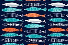 Margaret Berg Art: Sardines+Surface+Pattern:+Navy