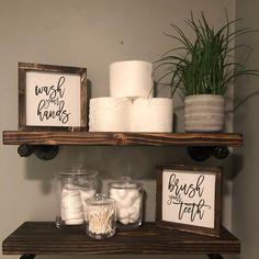 Home Interior Salas .Home Interior Salas Bathroom Shelf Decor, Bathroom Styling, Bathroom Signs, Brown Bathroom Decor, Bathroom Ideas, Bathroom Layout, Lowes Bathroom, Bathroom Shelves Over Toilet, Bath Shelf