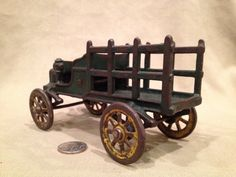 1930's Iron Open Cab Truck With Green Stake by TrashAngelTreasures, $125.00