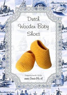 Dutch wooden baby shoes - crochet pattern