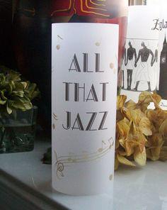 Art Deco Vellum Luminarie - ALL THAT JAZZ Wedding Signs - Luminary - Luminaria - Lantern - Great Gatsby - 20s - Music Notes by paperpixie on Etsy https://www.etsy.com/listing/241747230/art-deco-vellum-luminarie-all-that-jazz