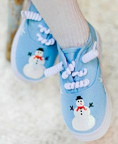 Girls shoes Sparkley Snowman shoes on hand painted by Snanimals, $29.00