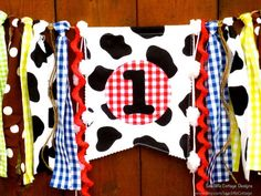 Farm Birthday Banner High Chair Highchair One First  Country Western Party Picnic Plaid Barn Party Farm Animals Rag Tie Garland Cake Smash