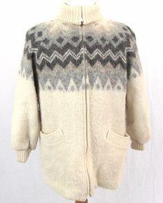 Hilda LTD Women's Sweater Small 100% Wool Nordic Icelandic Vintage Turtle Neck #HildaLtd #FullZip