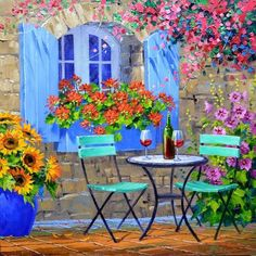 Colorful Elegance by Mikki Senkarik Oil ~ 16 inches x 16 inches Fall Canvas Painting, Canvas Art, Garden Painting, Garden Art, Greece Painting, Image Nature, Tile Murals, Painting Edges, Watercolor Paintings