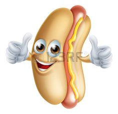 hot dog: A fun happy hotdog man giving thumbs up Illustration