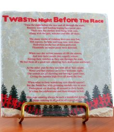 Our Twas the Night Before the Race Plaque is a perfect present for the runner in your life!