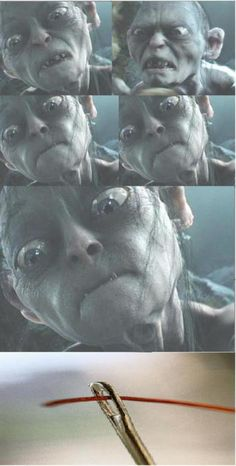 "Several stop motion photographs were taken from the latest ""Lord of the Rings"" movie entitled ""The Hobbit"". In this particular movie, Smeagol was struggling to answer a tough question and instead shown to be having difficulty threading a needle. the humor also insists upon his need for glasses.  http://www.thehobbit.com/"