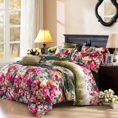 Forest Green Red and Pink Amazon Rainforest Scene Botany Vintage Natural 100% Brushed Cotton Full, Queen Size Bedding Sets