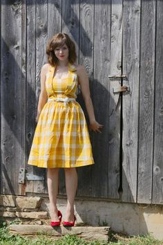 Love this yellow plaid with the red shoes.