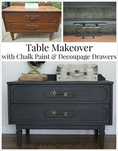Graphite Chalk Paint table makeover with decoupage drawers - Themed Furniture Makeover Day.  girlinthegarage.net